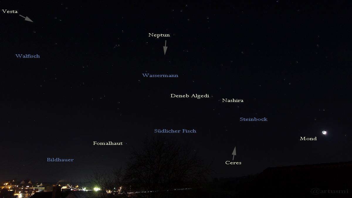 Sternbilder am 14. Dezember 2015 um 18:22 Uhr am Südwesthimmel