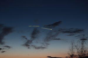 Komet Panstarrs am 19. März 2013 um 19:32 Uhr am Westhimmel