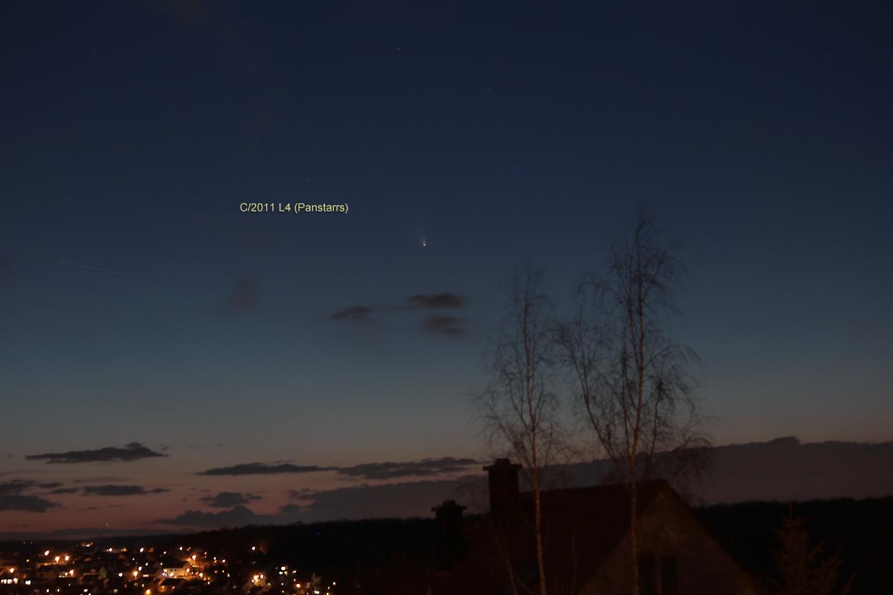 Komet Panstarrs am 19. März 2013 um 19:46 Uhr am Westhimmel