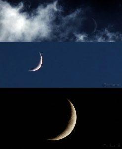 Drei Aufnahmen vom zunehmenden Mond am 21. Mai 2015