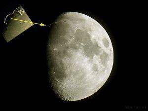 Goldener Henkel am Mond - 29. Mai 2015 um 00:01 Uhr - mit Ausschnittsvergrößerung