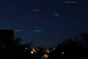 Ringplanet Saturn am 04.06.2015 um 23:27 Uhr im Sternbild Waage.