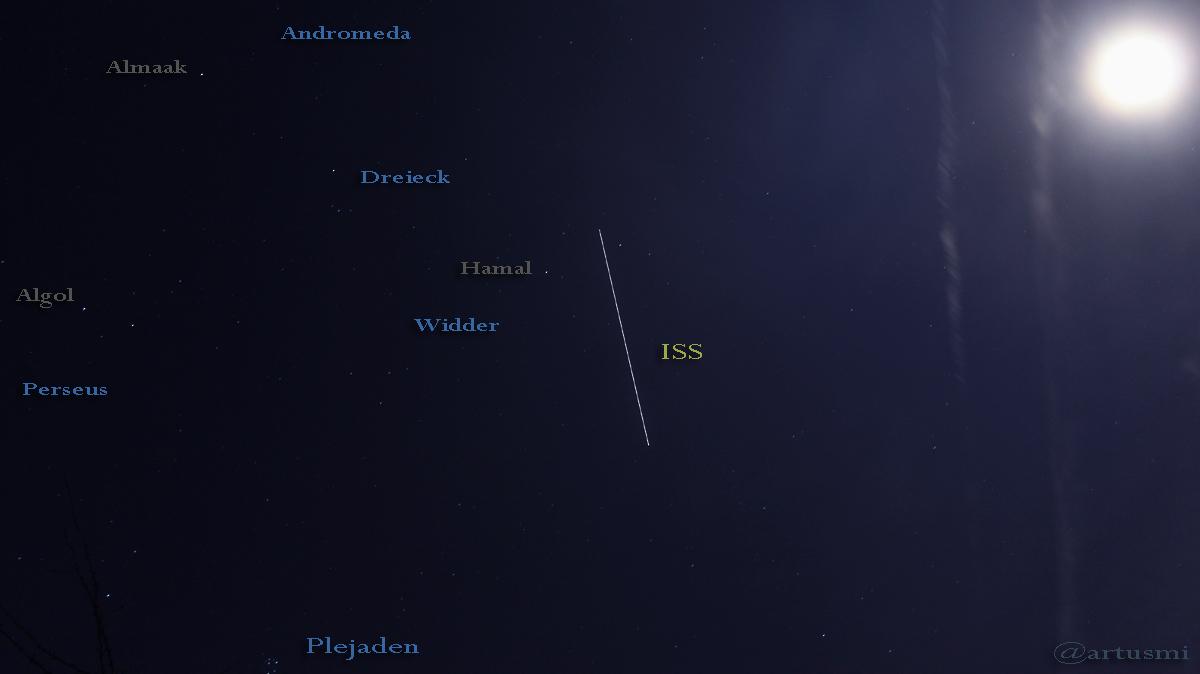 Die Internationale Raumstation (ISS) am 19. Dezember 2015 um 18:00 Uhr