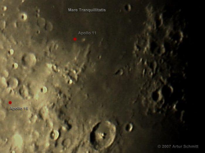 Landestellen von Apollo 11 und 16 auf dem Mond - 7. April 2007