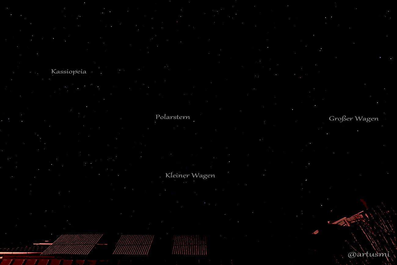 Himmelsnordpol und Zirkumpolarsterne am 12. Januar 2013 um 22:21 Uhr