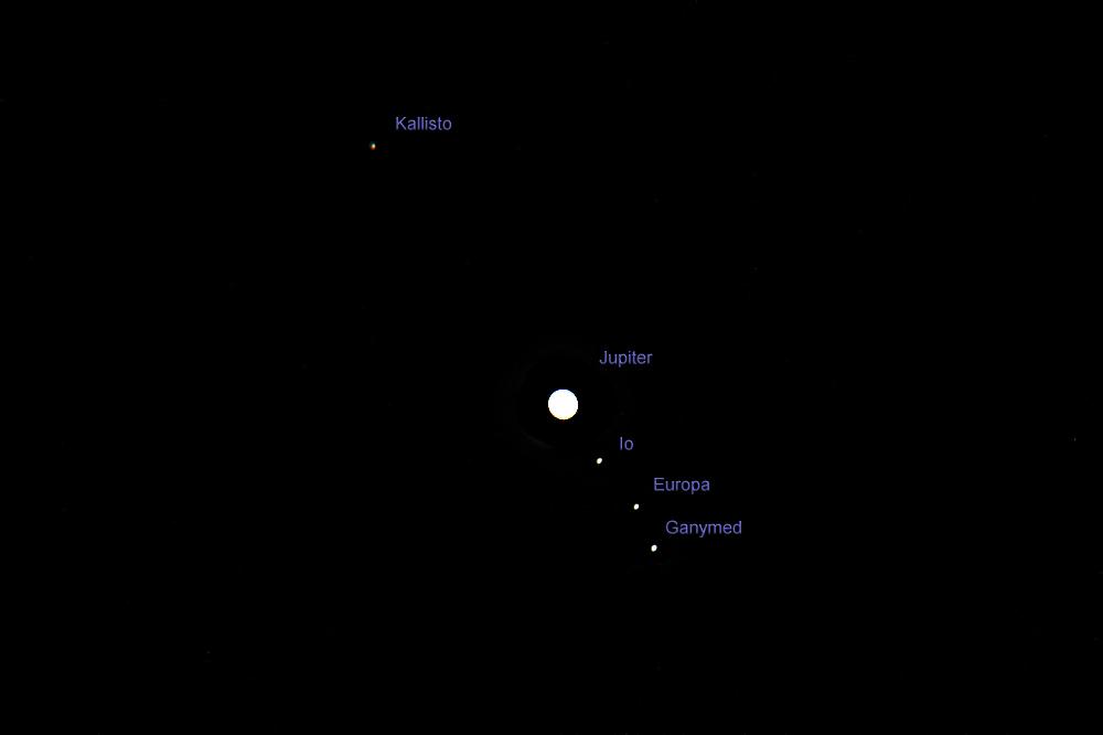 Jupiter und die vier Galileischen Monde am 7. April 2013 um 22:10 Uhr