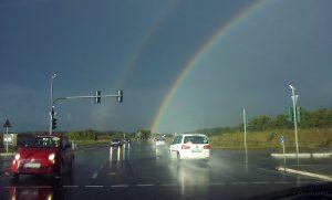 B 27 und Regenbogen am 20. September 2014 um 17:49 Uhr