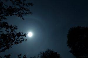 Mondhalo und Planet Jupiter am 29. April 2015 um 22:41 Uhr. Rechts oberhalb von Jupiter sind Castor und Pollux in den Zwillingen (Gemini) zu sehen.
