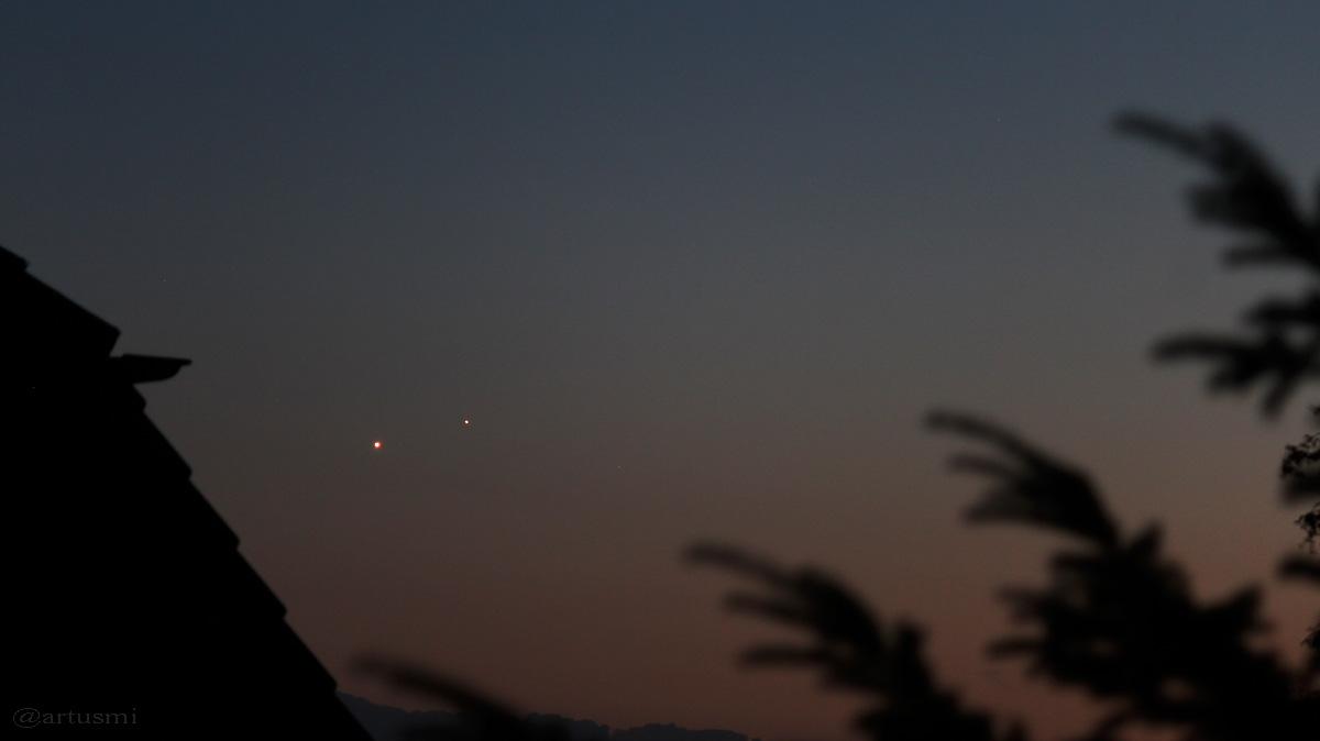 Venus und Jupiter am 2. Juli 2015 um 22:46 Uhr in der Abenddämerung