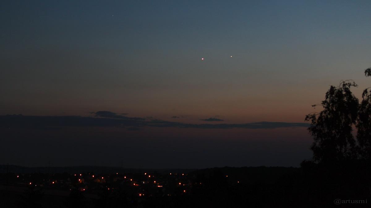 Venus und Jupiter am 4. Juli 2015 um 22:35 Uhr