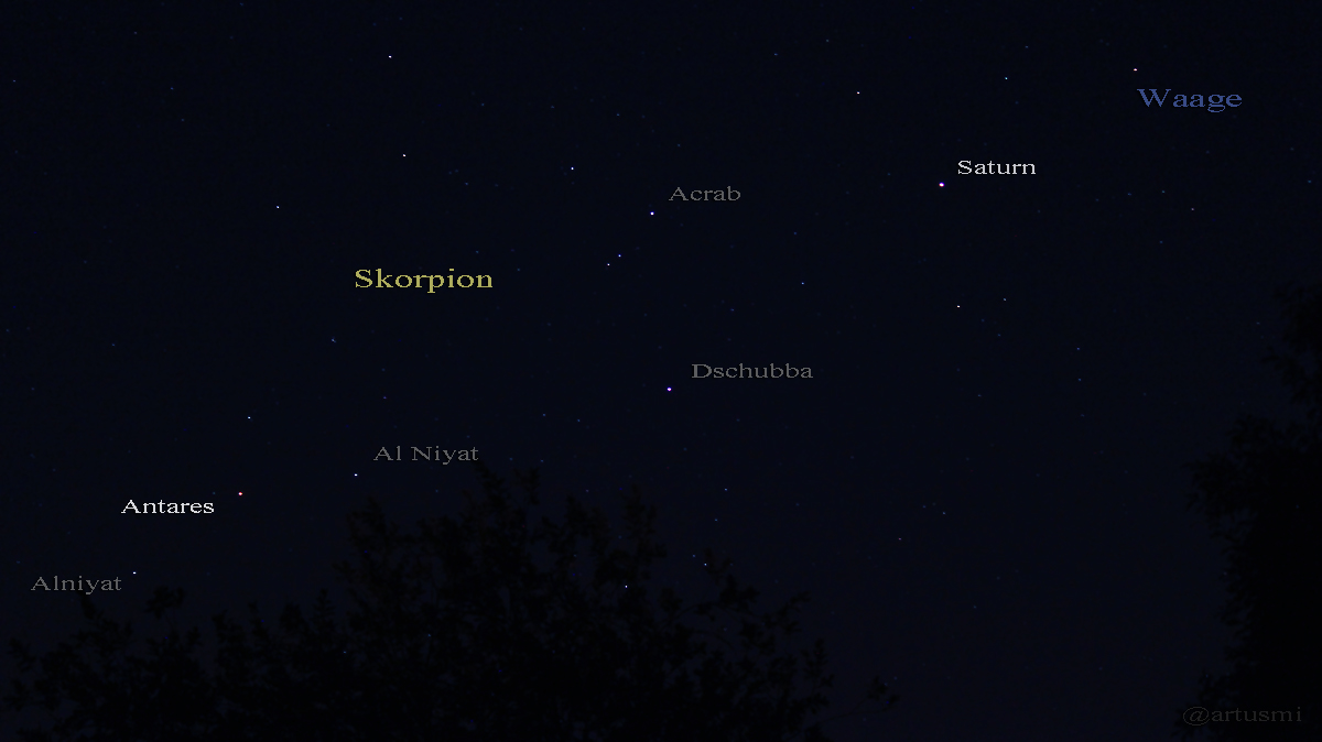 Saturn Mitte Juli 2015 zwischen Skorpion und Waage