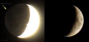 Bedeckung des Sterns HIP 59412 durch den Mond - Mond mit und ohne Erdlicht am 21. Juli 2015 um 21:43 Uhr