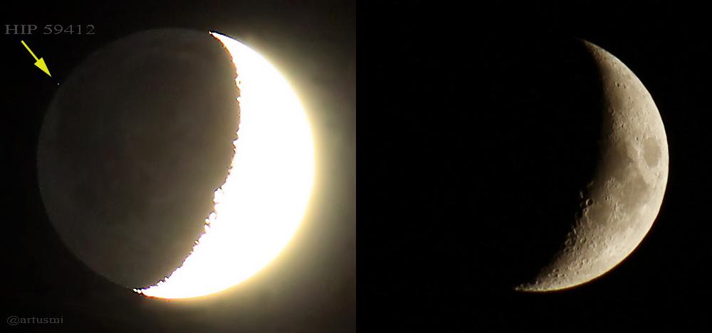 Bedeckung des Sterns HIP 59412 durch den Mond