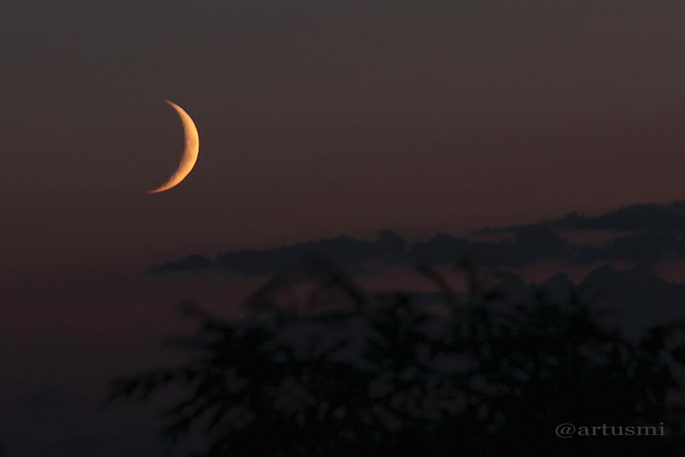 Schmale Mondsichel am 10. August 2013 um 21:33 Uhr