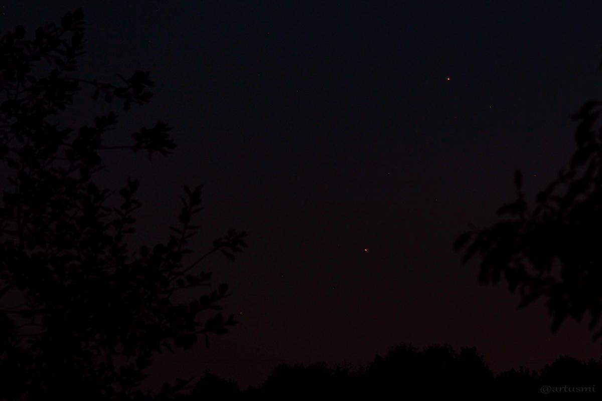 Enge Begegnung zwischen Mars nördlich von Antares am 27.09.2014 um 20:07 Uhr