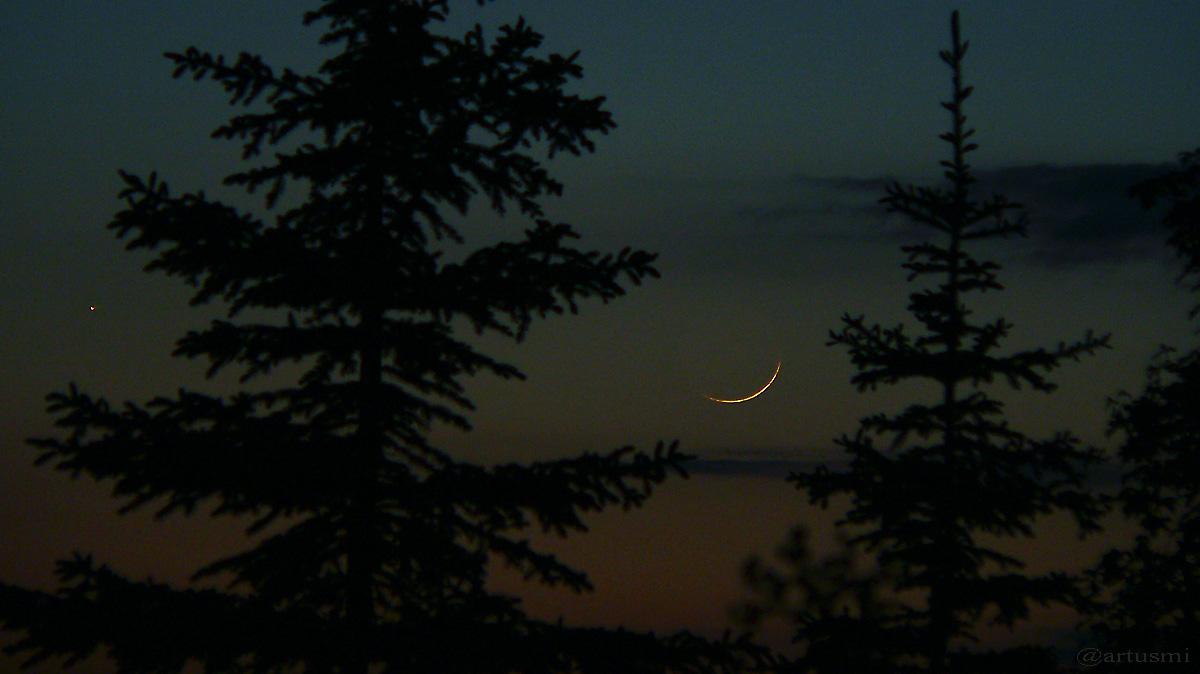 Merkur und sehr schmale Mondsichel