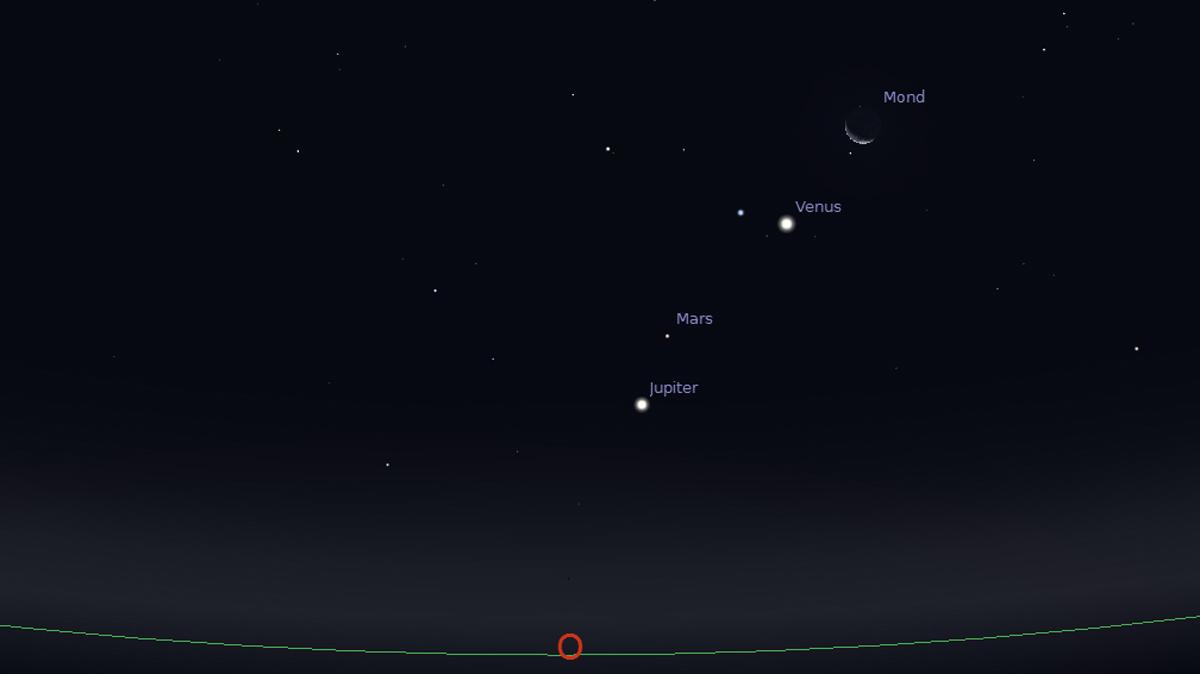 Planeten und Mond am 8. Oktober 2015 um 06:00 Uhr am Osthimmel