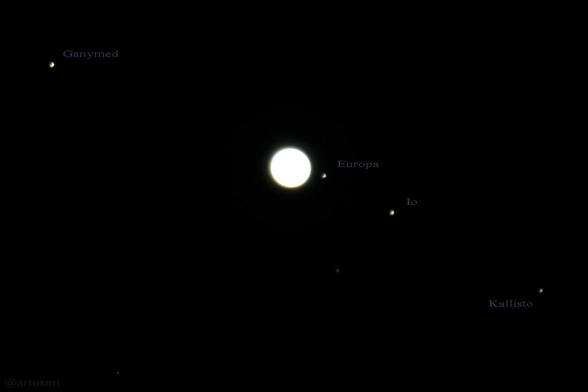 Jupiter und die Galileischen Monde am 29. März 2014 um 19:54 Uhr