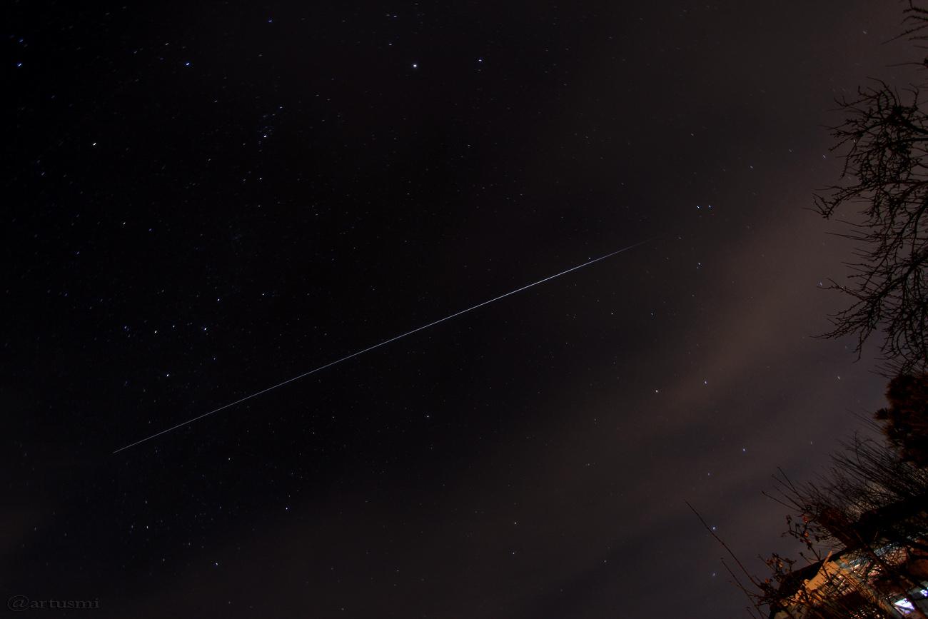 Strichspur der ISS am 11. Februar 2016 um 19:16 Uhr