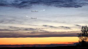 Schmale Mondsichel und Merkur am 8. April 2016 um 20:26 Uhr