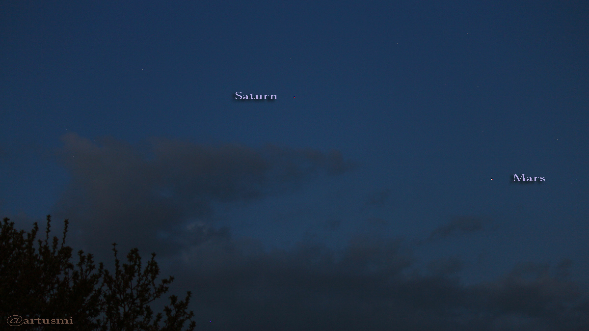 Saturn und Mars am Morgenhimmel - 4. Mai 2016 um 05:09 Uhr