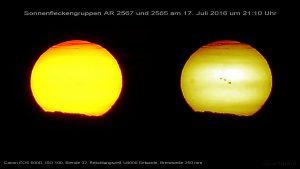 Sonnenfleckenaktivität am 17. Juli 2016 um 21:10 Uhr