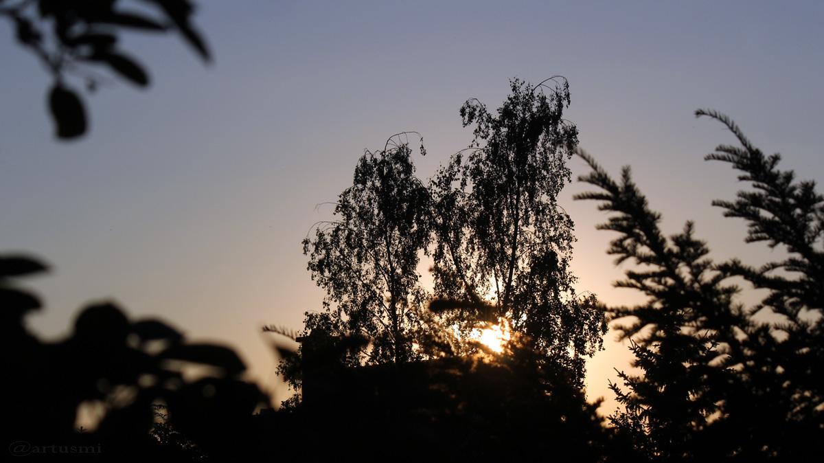 Die Sonne am 18. Juli 2016 um 20:48 Uhr am wolkenlosen Himmel