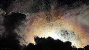 Irisierende Wolken um die Sonne am 29. Juli 2016 um 16:49 Uhr