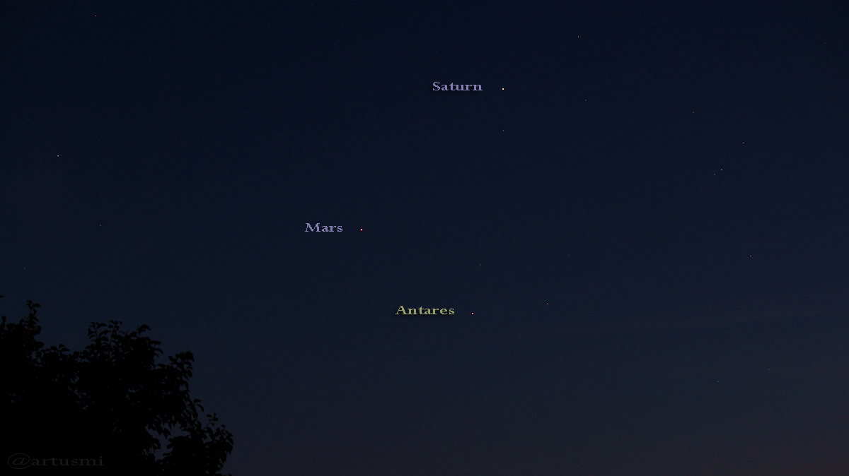 3 Uhr Konstellation Saturn - Mars - Antares am 30. August 2016 um 21:00 Uhr