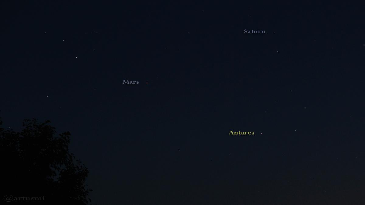 Mars - Saturn - Antares bilden ein Dreieck - 6. September 2016, 20:49 Uhr