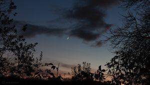 Abenddämmerung mit zunehendem Mond am 2. November 2016 um 17:24 Uhr