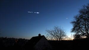 Dreieck Mars-Venus-Mond am 3. Dezember 2016 um 16:58 Uhr