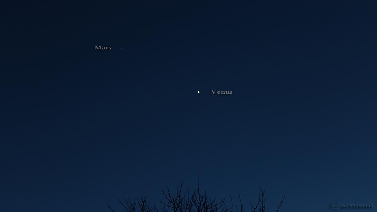 Mars und Venus am 27. Januar 2017 am Südwesthimmel