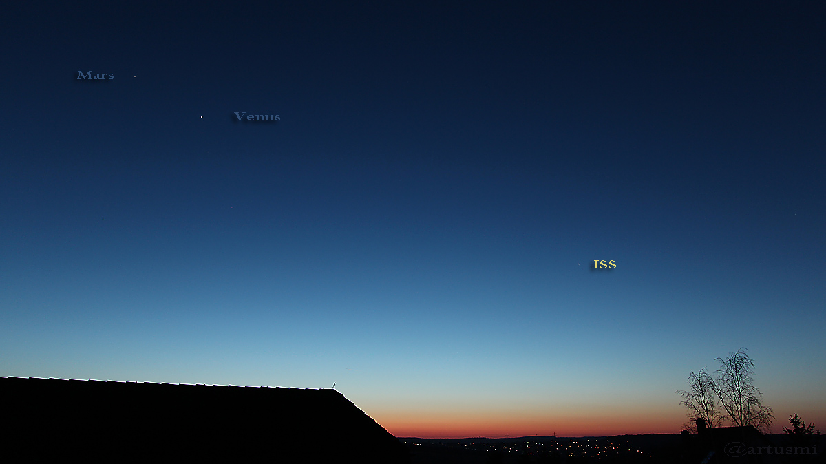 Mars, Venus und ISS am 13. Februar 2017 um 18:19 Uhr