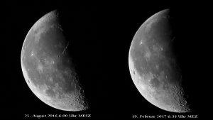 Libration: Vergleich Blick auf Mond-Nordpol und Mond-Südpol am abnehmenden Mond