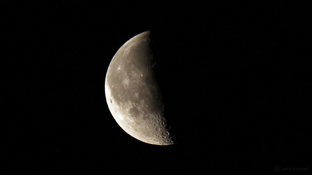Abnehmender Halbmond mit Blick auf Mond-Südpol am 19. Februar 2017 um 06:38 Uhr