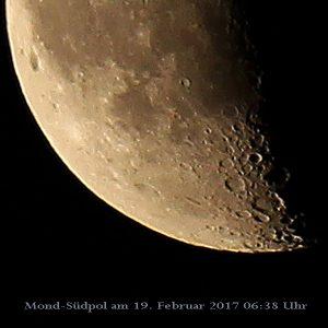 Mond-Südpol am 19. Februar 2017 um 06:38 Uhr