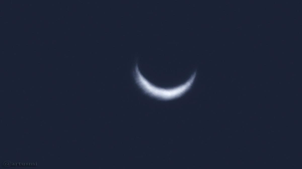 Schmale Sichel der Venus am 16. März 2017 um 19:12 Uhr