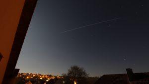 Strichspur der ISS am 9. April 2017 um 21:49 Uhr