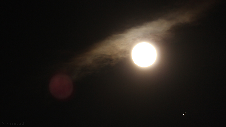 Mond und Jupiter mit Monden am 10. April 2017 um 23:07 Uhr