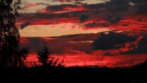WNW-Himmel mit Abendrot am 3. August 2017 um 21:20 Uhr