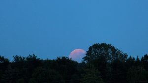 Partielle Mondfinsternis am 7. August 2017 um 20:54 Uhr am Südosthimmel von Eisingen