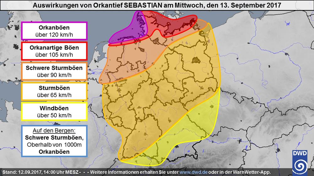 Auswirkungen von Orkantief Sebastian am 13. September 2017