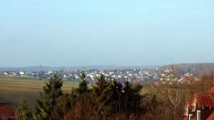 Blick von Eisingen nach Waldbrunn am 7. Dezember 2017 um 09:37 Uhr