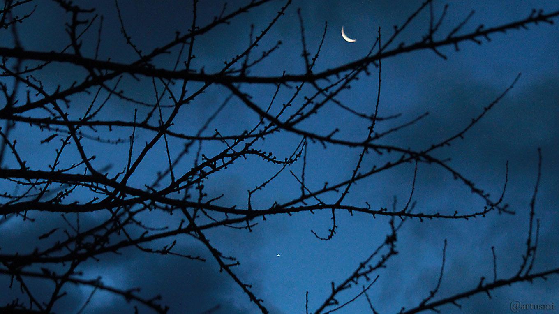 Abnehmende Mondsichel und Jupiter am 14. Dezember 2017 um 07:33 Uhr