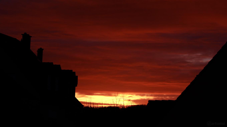 Südosthimmel während des Sonnenaufgangs am 5. Januar 2017 um 08:23 Uhr