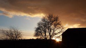 Sonnenuntergang nach Sturmtief Friederike am 18. Januar 2018 um 16:24 Uhr