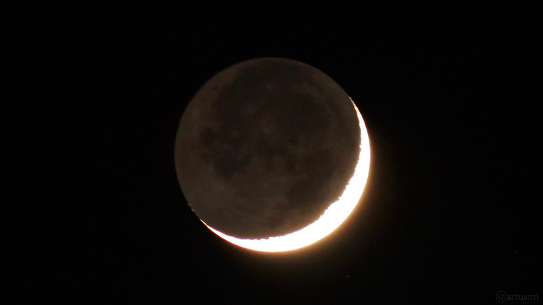 Zwei Tage nach Neumond – Mond mit Erdlicht