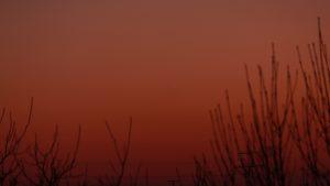 Planet Venus am 23. Februar 2018 um 18:23 Uhr in der Abenddämmerung tief am Westhimmel