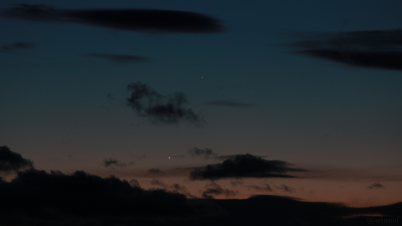 Venus und Merkur am 7. März 2018 um 18:59 Uhr am Westhimmel
